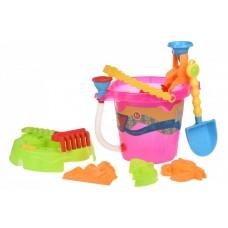 Набор для игры с песком Same Toy 6 ед Ведерко розовое 976U