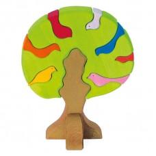 Конструктор nic деревянный Дерево с птицами светлое NIC523
