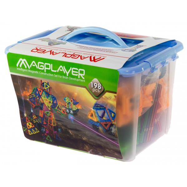 Конструктор Magplayer магнитный набор 198 эл. MPT-198