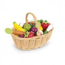 Игровой набор Janod Корзина с овощами и фруктами 24 ел. J0