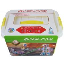 Конструктор Magplayer магнитный набор бокс 188 эл. MPT2-18