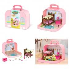 Игровой набор Lil Woodzeez Кейс розовый (Двухъярусная кровать) с аксессуарами WZ6597Z