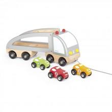 Машинка Janod Автовоз и 3 машинки J05603