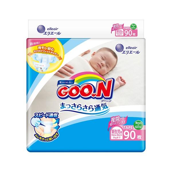 Подгузники GOO.N для новорожденных до 5 кг (размер SS, на липучках, унисекс, 90 шт) 853941