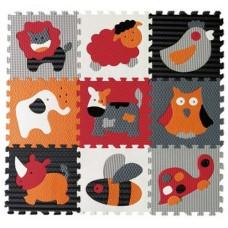 Детский игровой коврик - пазл «Веселый зоопарк», 92х92 см,