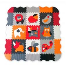 Детский игровой коврик - пазл «Веселый зоопарк» с бортиком