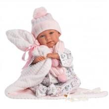 Пупс Ньюборн интерактивный, Плакса Мими с бело-розовым одеялом со звуком 40см 74084